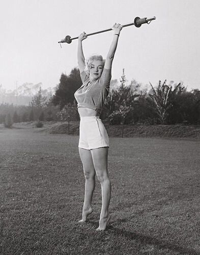 Rare Marilyn Monroe BARBELL Classic Black-and-White Fitness Gym Health Poster