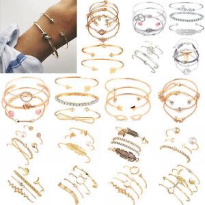 New-Fashion-Women-039-s-Jewelry-Bracelets-Chain-Cuff-Bangle-Lady-Charm-Bracelet-Set