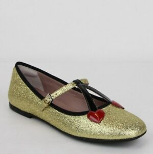 1cbb9292dc415 Image is loading Gucci-Girl-Junior-Gold-Shimmer-Ballet-Fabric-Flats-