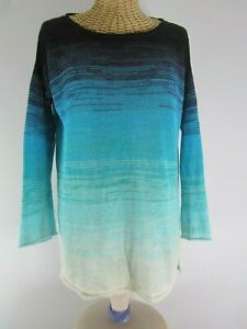 Calypso-St-Barth-Womens-Small-Turquose-Ombre-100-Linen-Knit-Sweater-Top-Peru