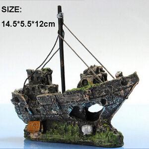 Aquarium-Ornament-Wreck-Sailing-Boat-Sunk-Ship-Destroyer-Fish-Tank-Cave-Decor