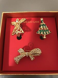 Details about Macy's Christmas Holiday Lane Pin Brooch Set of 3 Angel Xmas tree and Bow NWT