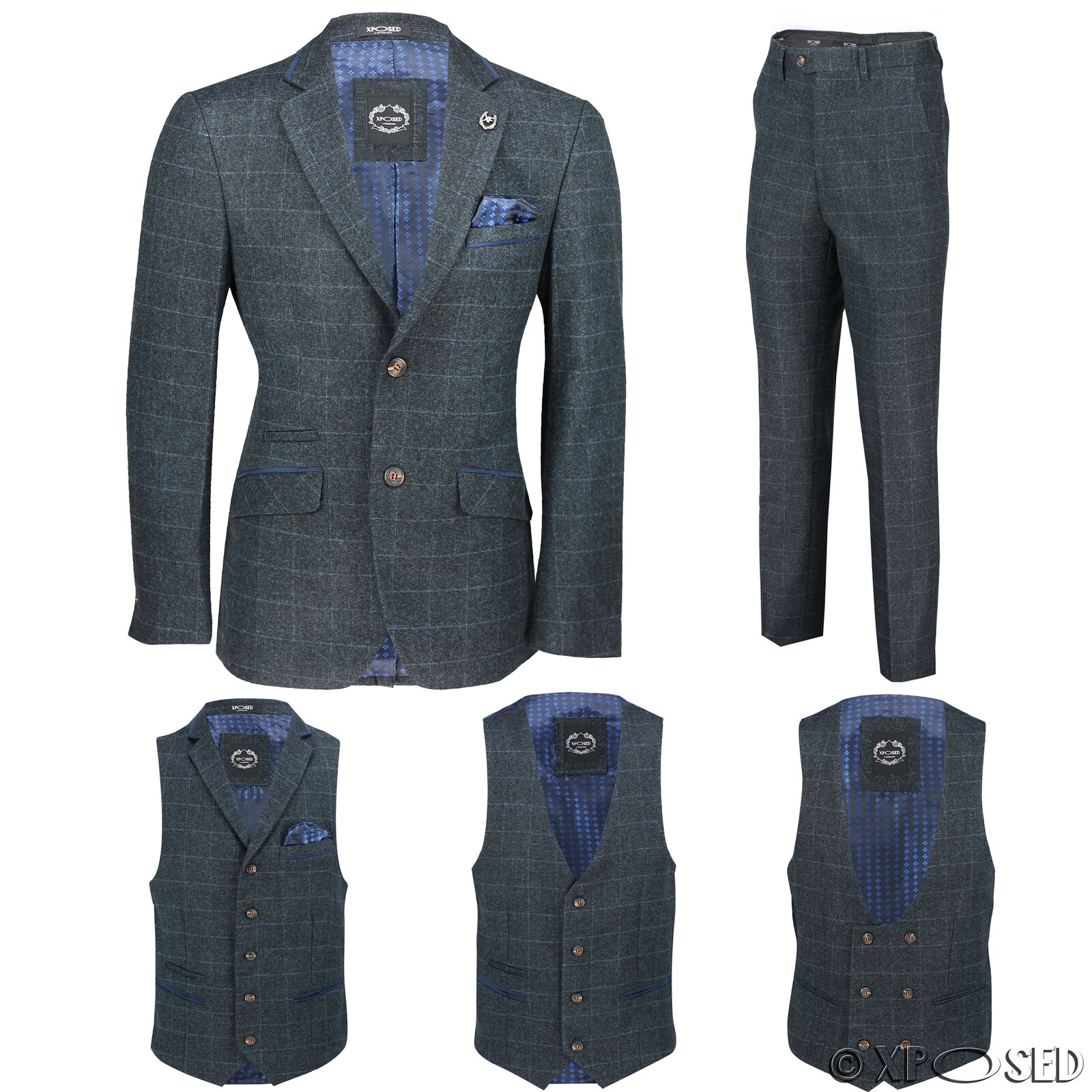 New Mens Blue Tweed Check 3 Piece Suit Sold Separately Blazer Trouser Waistcoat