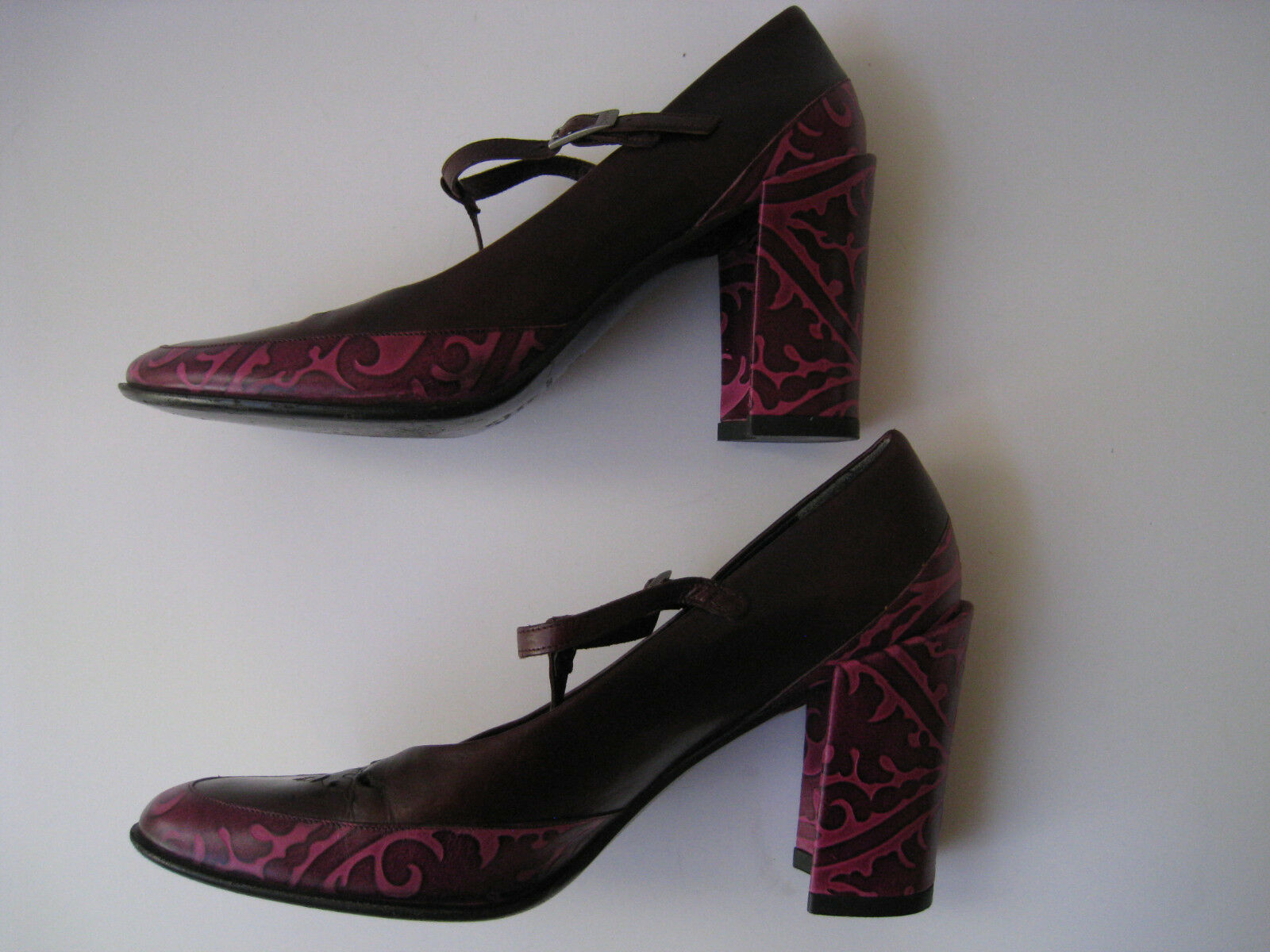 DKNY DKNY DKNY BURGUNDY-Rosa LASER CUT LEATHER T-STRAP HEELS Größe US 8.5 HOT MADE IN ITALY 5a5deb