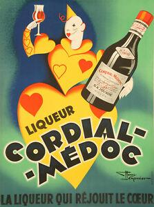 Vintage alcool Poster-Lemonnier-Cordial Médoc-liqueur-Heart - 1936
