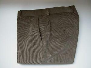 MENS-LINEA-NATURALE-WAIST-30-FLAT-FRONT-LT-BROWN-THIN-RIBBED-CORDUROY-PANTS