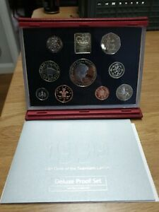 UK ROYAL MINT 1999 Deluxe Proof Set With Dianna 5 Pounds