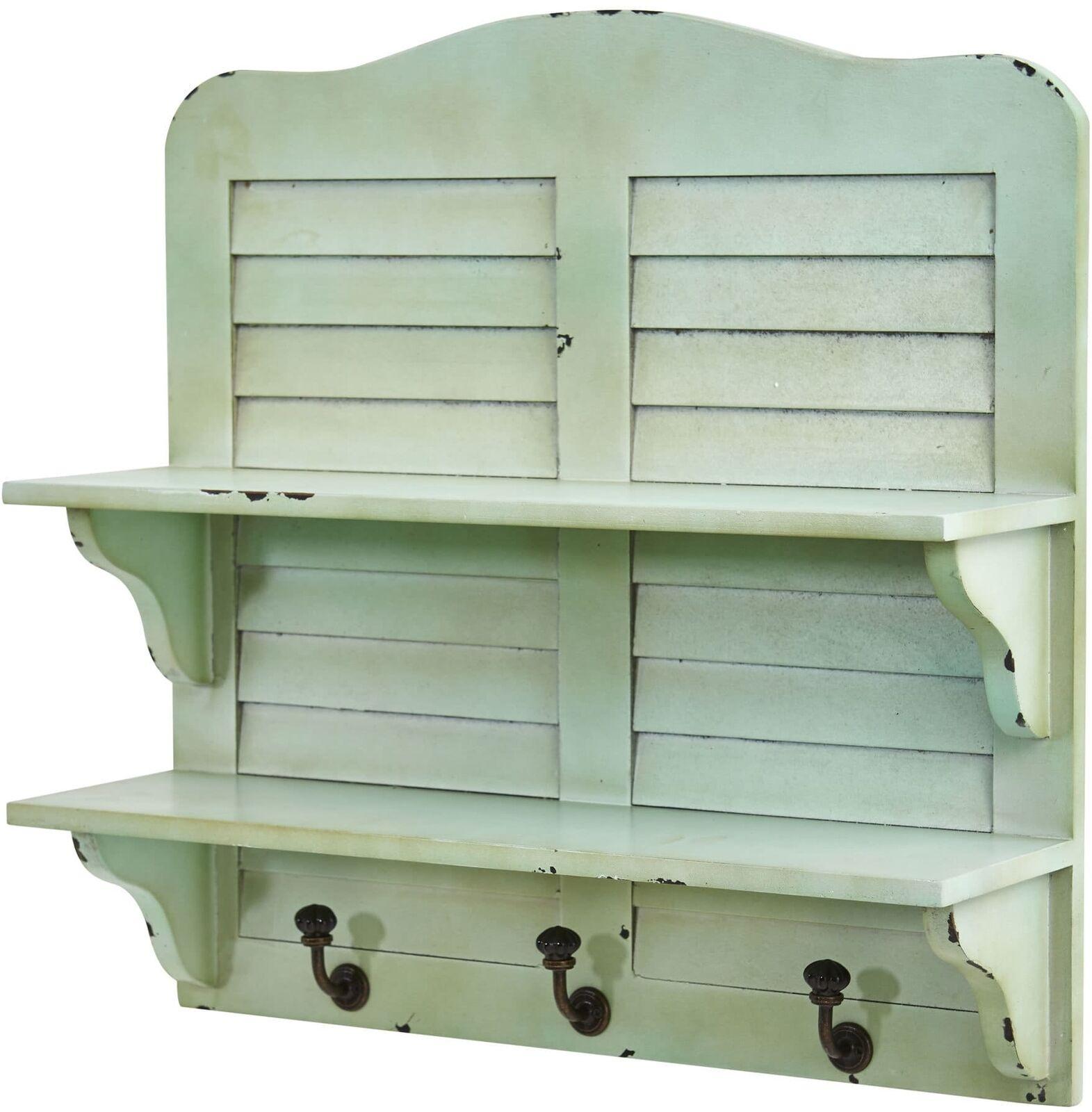 Vintage Retro Green Wall Shelf Distressed Rustic Faux Window Shutters W Hooks