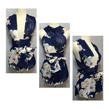 Women's Summer Navy Floral One Piece Wrap Romper Jumpsuit Club Wear Shorts L/XL