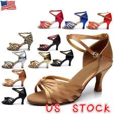 All SIze New Satin Waltz Tango Cha Cha Latin Betty High Heels Dance Womens Shoes