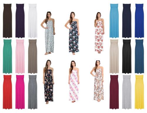 Ladies Sheering Boobtube Bandeau Maxi Dress Womens Long Jersey Strapless Maxi