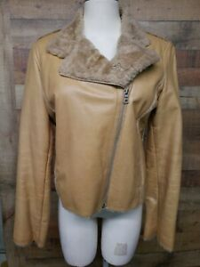 Guess-RN-92608-Genuine-Leather-Brown-Jacket-Women-039-s-Shirt-Size-M-Pre-owned