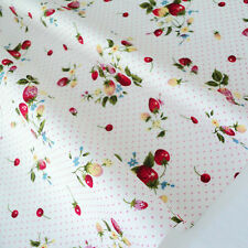 STRAWBERRY BOUQUET - IVORY WHITE PINK DOTS COTTON FABRIC per m PATCHWORK