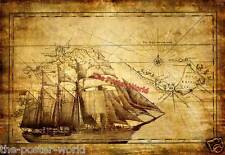 Vintage Pirate Ship with Treasure Map Sea Ocean Gloss Poster Wall Art Print New