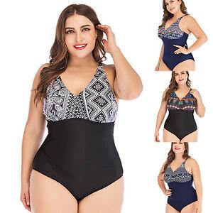 rivenditore all'ingrosso 9a0b8 96b10 Dettagli su Taglie Forti Donna Vita Alta Costume Intero da Bagno Bikini  Spiaggia