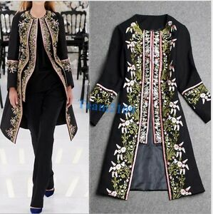 fashion-Womens-Ethnic-Floral-Print-Embroidered-long-Jacket-Slim-Coat-Outwear-new