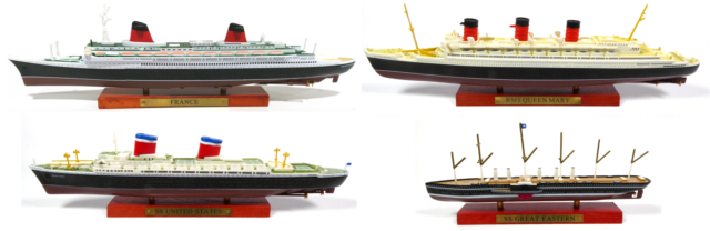 Lot De 4 Paquebots France Queen Mary United States Great Eastern 1 1250 Bateau Ebay