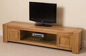 Kuba Solid Oak Wood & Glass Widescreen TV Cabinet Unit Living Room ...