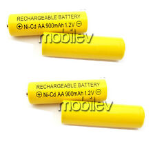 4 x AA 900mAh Ni-Cd 1.2V Rechargeable Battery Cell Yellow