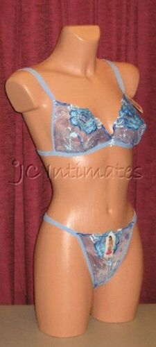 Lingerie-Sexy Sheer Lace Bra /& Thong Set-Lt Blue S