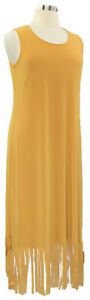 ATTITUDES-by-Renee-size-XL-mustard-yellow-stretch-knit-sleeveless-frayed-dress