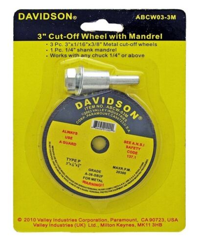 "Davidson 3/"" inch Cutoff Wheel Discs Set Mandrel Arbor Adapter Cutting Tool"