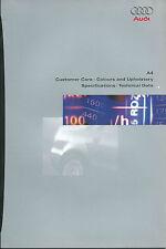 Audi A4 Avant Saloon Specifications & Technical Data 1998 Brochure Prospekt
