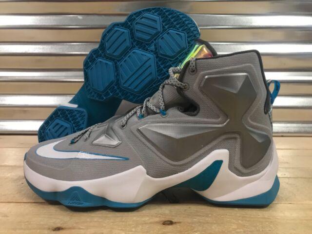 new arrival b2b7c 60ff0 Nike Lebron XIII 13 Shoes Blue Lagoon Wolf Grey Dark Grey SZ ( 807219-014