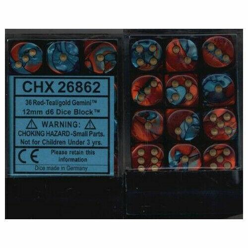 CHX26862 Chessex Manufacturing Gemini 7 36 12mm D6 Red//Teal//Gold