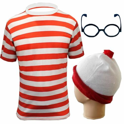 Adults Red White Stripe Top Bobble Hat Glasses Without Lens Set Party Outfit Set