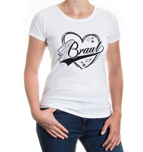 Damen Kurzarm Girlie T-Shirt Braut Junggesellenabschied JGA Hochzeit Liebe Herz