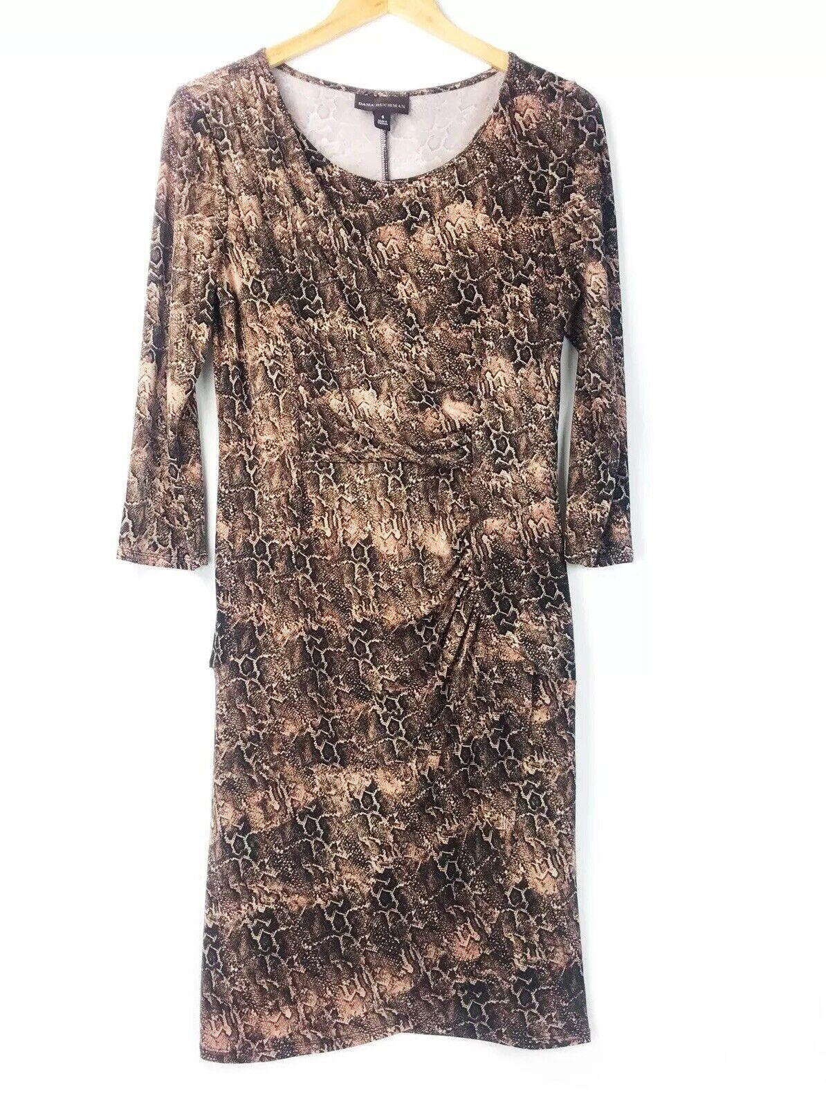 Dana Buchman damen Ruched Dress Größe Small braun Sheath Snakeskin 3 4 Sleeve