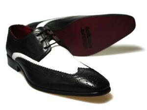 Delicious Junction Dekker Black/White Leather Shoes UK 7-12  RRP £75 Free UK P&P