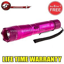 STUN GUN ALL Metal POLICE 200 MV Rechargeable + LED Tactical Flashlight  -Pink