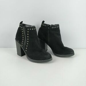 WOMENS-NEW-LOOK-BLACK-FAUX-SUEDE-ZIP-UP-HEELED-ANKLE-BOOTS-UK-5-EU-38