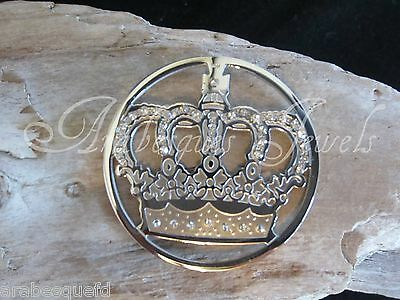 GENUINE STERLINA MI MILANO 24mm SILVER CROWN COIN/MONEDA FOR PENDANT/KEEPER AJMM