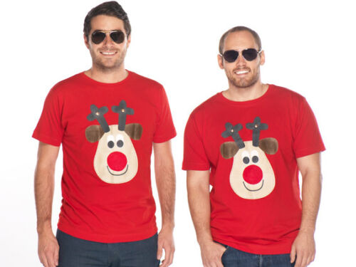 Mens or Ladies S XXXXL Squeaky Nose Rudolph Novelty Christmas T shirts Xmas