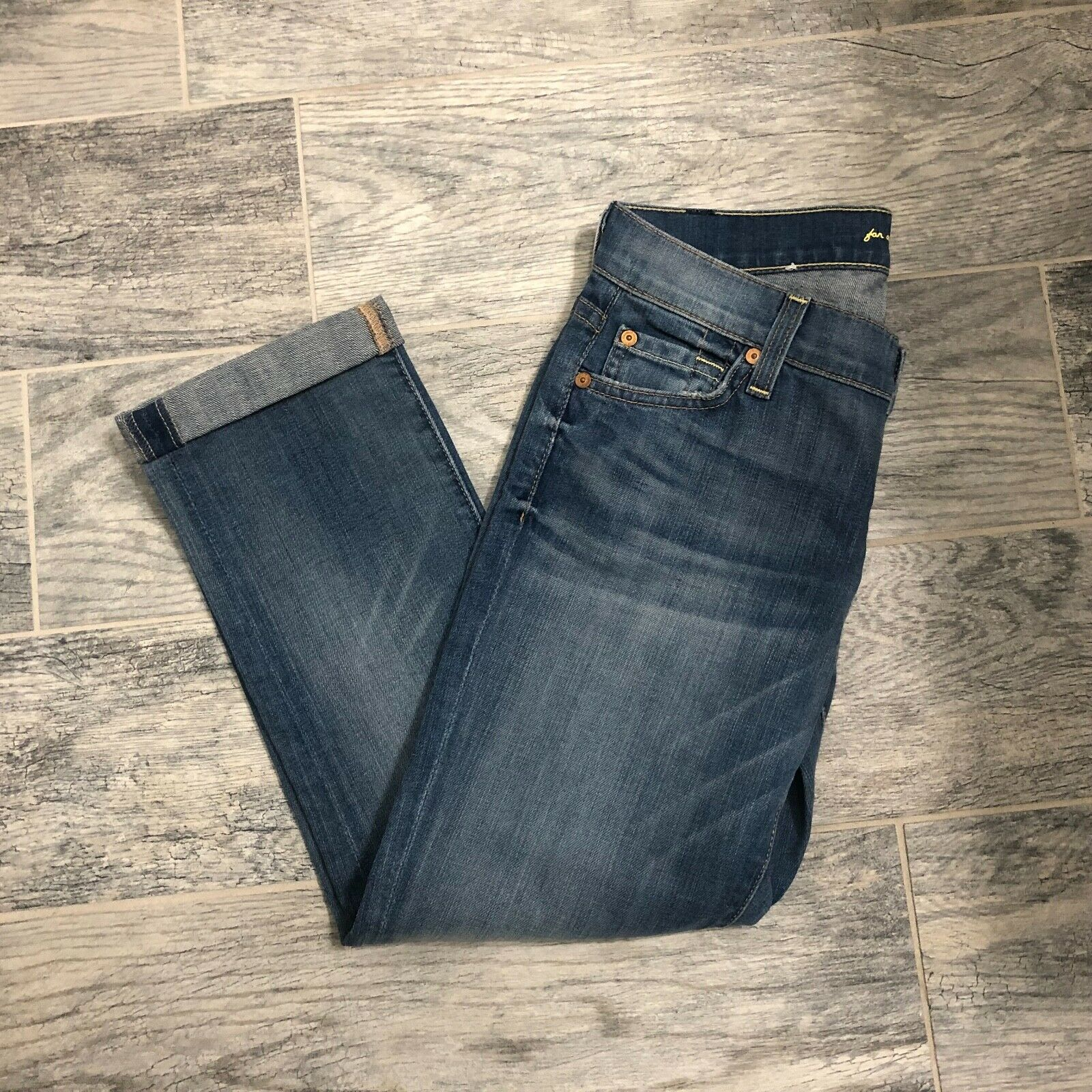 7 For all Mankind The Skinny Crop & Roll NWT