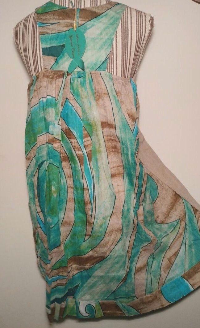 Antica Sartoria Positano 100% 100% 100% Lino Abito Dress Multicolor blue Ecru L XL c79d20