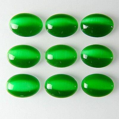 9pcs Charming Green Cat Eye Oval 25x18mm Cab Cabochon AMY7RL