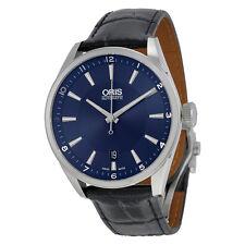 Oris Artix Blue Dial Blue Leather Strap Mens Watch 733-7713-4035LS