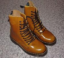SOLOVAIR Tan Gold 11 Eyelet Derby Lace Up Leather Boot - UK SIZE 5