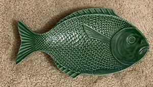 Vintage-Portugal-Green-Majolica-Pottery-Ceramic-Fish-Plate-Dish-Platter-14-5-x8