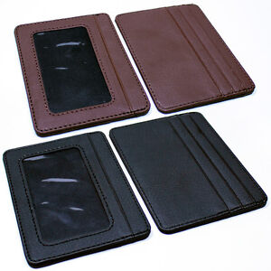 Mens-Slim-Leather-Wallet-Card-Holder-Window-Credit-Cash-ID-Pocket-Thin-Minimal