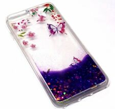 For iPhone 7 PLUS - Purple Glitter Butterfy Stars Liquid Waterfall Sparkle Case
