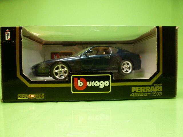 BBURAGO 3036 FERRARI 456GT 1992 - blueE 1 18 - GOOD IN BOX