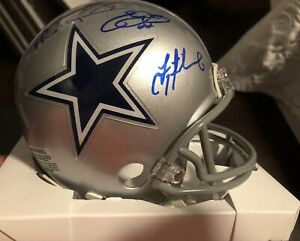 Troy Aikman / Emmitt Smith / Michael Irvin Signed DALLAS Mini Helmet .CERT