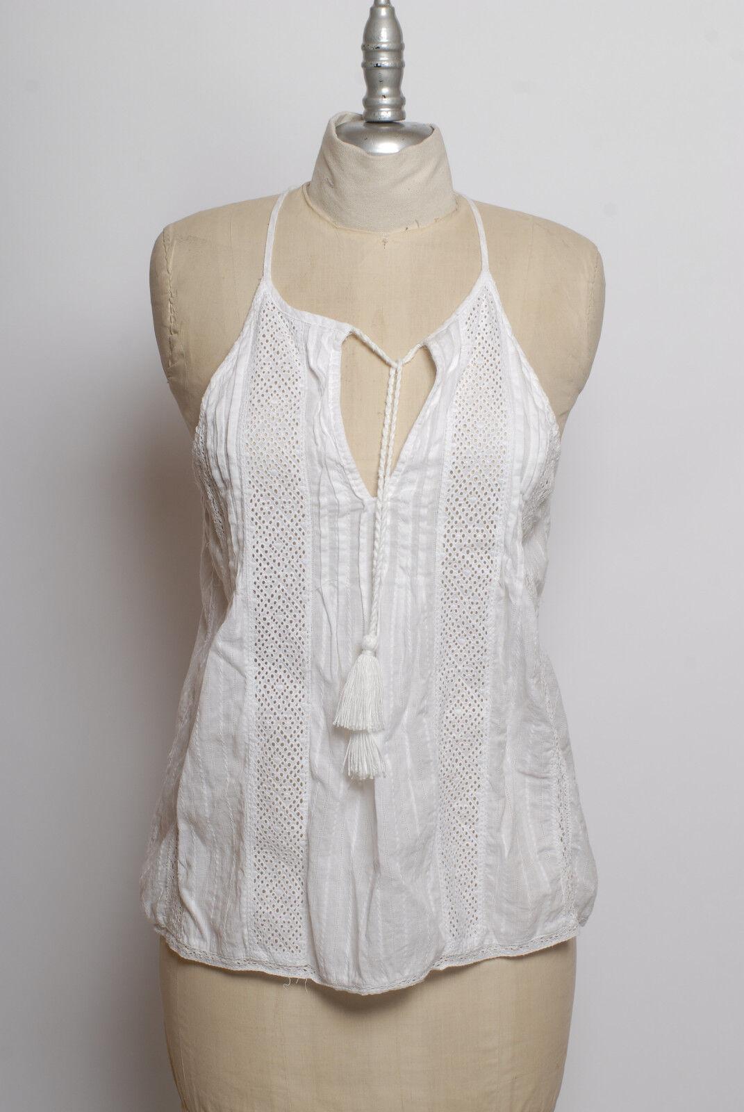 Joie Tita Weiß cotton embroiderot eyelet front pleat & tassel tie halter top XS