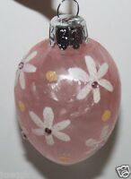 Pier 1 Imports Lot Of 2 Easter Tree Ornaments - Pink Glass Eggs W/ Gemstones