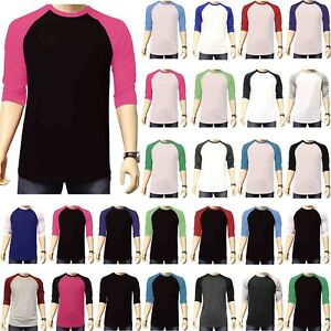 3-4-Sleeve-Plain-Baseball-Raglan-T-Shirt-Tee-Mens-Sports-Team-Jersey-30-Colors